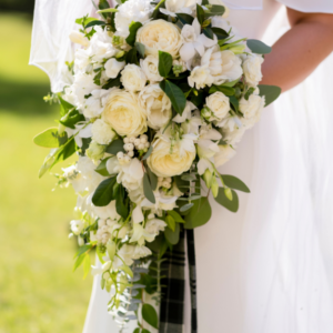 white flower and greenery bouquet