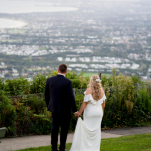 bride and groom at Sublime Point Lookout in Wollongong
