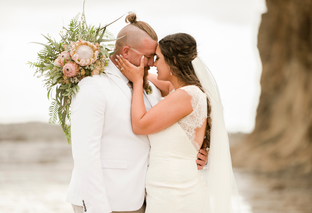 Bride and Groom after wedding on beach in Gerroa