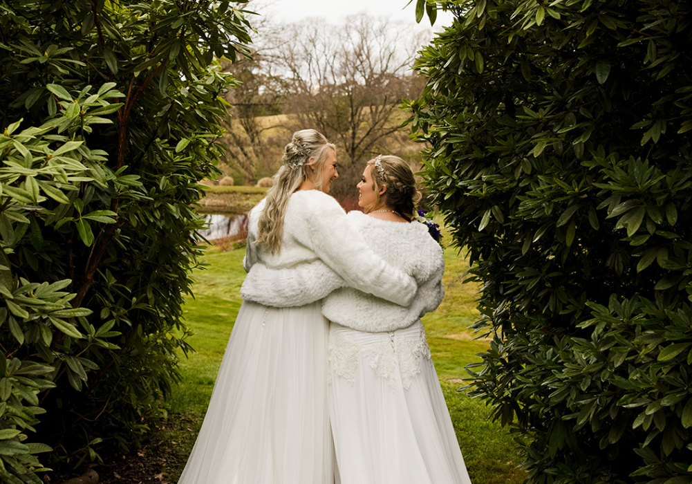 Bride and bride at Hillandale Gardens wedding in Yelthome